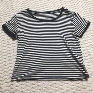 "Aeropostale ""Baby Tee"" Soft Crop Top Striped"